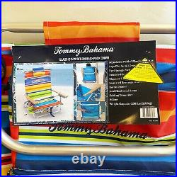 2021 Tommy Bahama Chairs Folding Backpack Beach Deck Red Blue Stripes 2 PACK