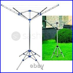 20M Clothes Airer Portable Rotary Washing Line 4 Arm Free Standing Multi Laundry