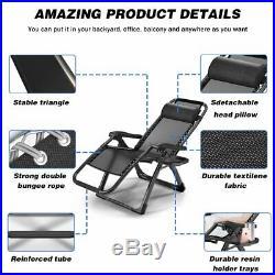 2PCS Oversized Zero Gravity Chair Adjustable Recliner Lounge Patio Beach Chair