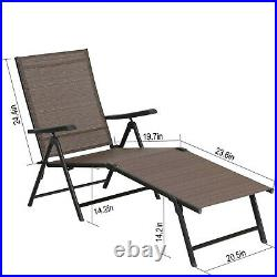 2PCS Patio Recliner Lounge Deck Chair Adjustable Outdoor Folding Chaise 5 Stages