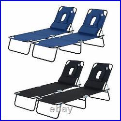 2PC Sun Lounger Folding Recliner Chair Pillow Portable Home Garden Day Bed