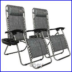2PC Zero Gravity Folding Patio Lounge Beach Chairs with Cup Holder / Headrest Grey