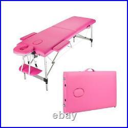 2 Fold Aluminum Massage Table SPA Bed Tattoo Pink Tattoo Beauty Adjustable