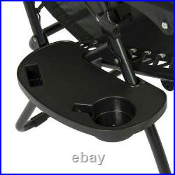 2 Outdoor Zero Gravity Lounge Chair Beach Patio Pool Yard Folding Recliner Black