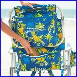 2 PACK Tommy Bahama Backpack Beach Folding Deck Chair Yellow Pineapple 2020