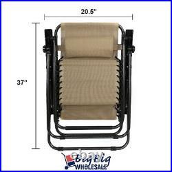 2 Zero Gravity Chairs Folding Patio Lounge Beach Outdoor Recliner Tan Texteline