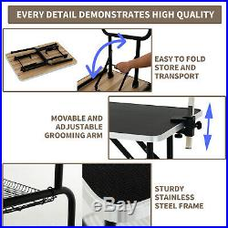 32 Portable Adjustable Folding Dog Cat Pet Grooming Table Arm Noose Mesh Tray