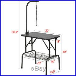 32 Portable Pet Dog Grooming Table Foldable withStorage Tray Adjustable Arm Noose