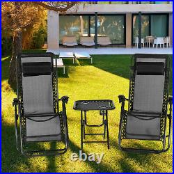 3PC Folding Lounge Recliner Zero Gravity Chair Set, Beach Yard Camping and Lawn