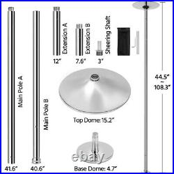 45mm Stripper Dance Pole Spinning Static Dancing Pole Height-Adjustable, Silver