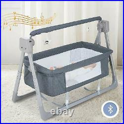 5 Core Electric Baby Adjustable Bed side Crib Cradle with Mattress Music Swing