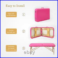 73L Adjustable Height Folding Portable Massage Table Facial SPA Bed Tattoo Pink