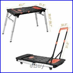 7-in-1 Portable Workbench, Multifunctional Adjustable Table Scaffold/Dolly/Pla