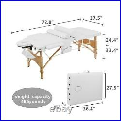 84 Beauty Bed 3 Fold Facial SPA Massage Treatment Table Adjustable Wooden White
