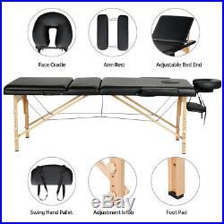84 L Massage Table 3 Fold Adjustable Portable Facial Spa Salon Bed Tattoo Black