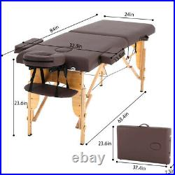 84''L Massage Table Bed Facial Spa Bed Adjustable Portable Salon 2-Fold Coffee