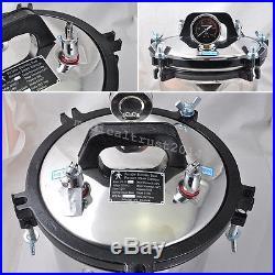 8L Portable DENTAL adjust Steam pressure Autoclave Sterilizer Dual heating POT