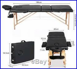Adjustable Beauty Salon Massage Bed Portable Folding Wooden Leather Comfortable