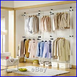 Adjustable Clothes Rack Hanger Hanging Portable Rolling Garment Stand Heavy Duty