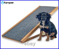 Adjustable Pet Ramp Dog Cat Stairs Folding Paw Wood Alpha Steps Couch Bed Grey