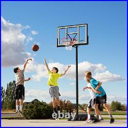 Adjustable Portable Basketball Hoop 46 Inch Fusion Backboard Outdoor Goal Rim