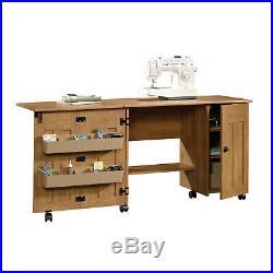 Amber Pine Sewing & Craft Table Drop Leaf 2 Adjustable Shelves 2-Storage