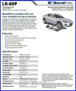 BENDPAK LR-60P low Rise Car Lift Portable Adjustable 6000lb SCISSOR LIFT NEW