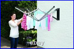 BRABANTIA 24mm Wall Fix Rotary Fold Away 4 Arm Clothes Line With Cover Wall Mount