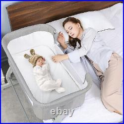Baby Bassinet Bedside Sleeper Adjustable Height Portable Crib Infant Toddler Bed