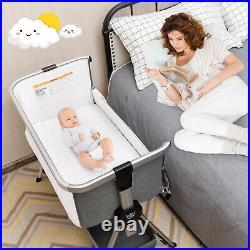Baby Bed Side Crib Portable Adjustable Infant Travel Sleeper Bassinet Dark Grey