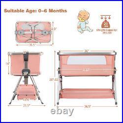 Baby Bed Side Crib Portable Adjustable Infant Travel Sleeper Bassinet Pink