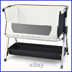 Baby Bed Side Crib Portable Adjustable Sleeper Bedside Bassinet Dark Grey
