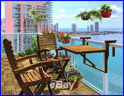 Balcony Deck Side Table Folding Wood Railing Hang Patio Shelf Rail Mount Adjust