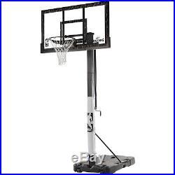 Basketball Hoop Portable Adjustable Spalding NBA 60 Acrylic Backboard Rim Syste
