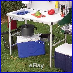Coleman Camping Kitchen Outdoor Cooking Table Portable Set Camp Folding Steel