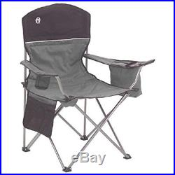 Cooler Quad Folding Deluxe Portable adjustable Camping Beach Gray & Black Chair