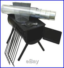 Cylinder Stove Alpine Heavy Duty Drilled Hole Adjustable Leg Chimney Pipe Heat