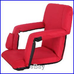 EXTRA WIDE Portable Multiuse Adjustable Recliner Red Stadium Seat With Cup Pocket