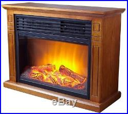 Electric Fireplace Heater Infrared Oak Mantle Portable Rolling Wheels Adjustable