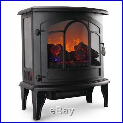 Electric Fireplace Tempered Glass Adjustable 1400W Heater Flame Portable Stove