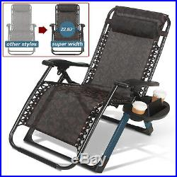Extra Wide Zero Gravity Chair Folding Recliner Patio Lounge Beach Support 400lbs