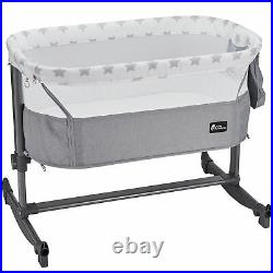 FYLO Bedside Adjustable Rocking Crib Grey Star