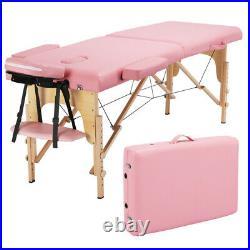 Foldable Salon 84'' 2-Fold Massage Table Bed Facial Spa Adjustable Portable Bed