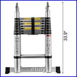 Folding 16.5FT Multi Purpose Telescopic Extension Ladder Aluminum Adjustable