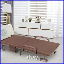 Folding Bed Adjustable Guest Single Bed Lounge Twin Mattress Portable Wheels