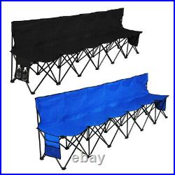 Folding Chair Sports 6 Seat Sideline Portable Team Bench withSidebag & Carry Bag