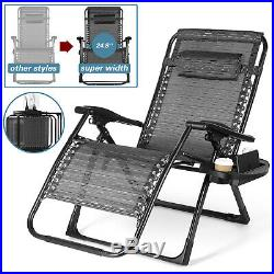 Folding Oversized Super Wide Zero Gravity Chair Patio Recliner withHolder 420LBS