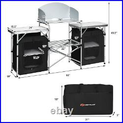 Folding Portable Aluminum Camping Grill Table with Storage Organizer Windscreen