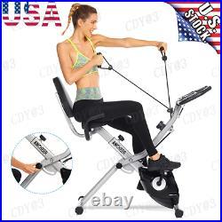 Folding Stationary Exercise Bike 10Level Adjustable Magnetic Resistance Portable