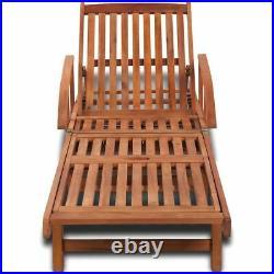Garden Sun Lounger Wooden Folding Recliner with Drink Tray Outdoor Steamer Chair
